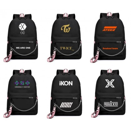 BTS Backpack School Bag with USB charge BLACKPINK STRAY KIDS NCT EXO TWICE IKON X1