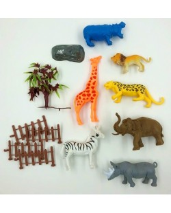 Large Jungle Wild Animal Figures 13pcs Simulation Kids Toy Set