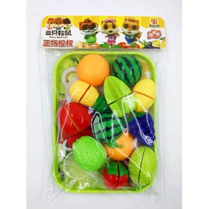 Kids Kitchen Fruits Cutting Pretend Play Toy Set Early Teaching
