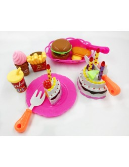 Kids Birthday Party Cake Burger French Fries Pretend Play Toy Set
