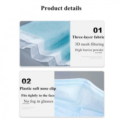 Face Mask Breathable Disposable Earloop 3-ply Mask