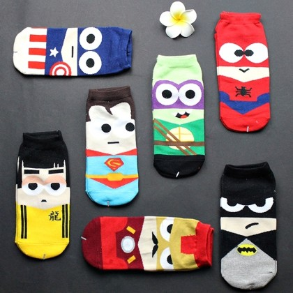 Super Hero Sock Ankle Cotton Unisex